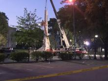 Crews prepare to remove base of Confederate monument at State Capitol