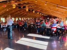Lt. Gov. Dan Forest campaign event, Iredell County, July 14, 2020. Photo via Forest gubernatorial campaign Facebook page.