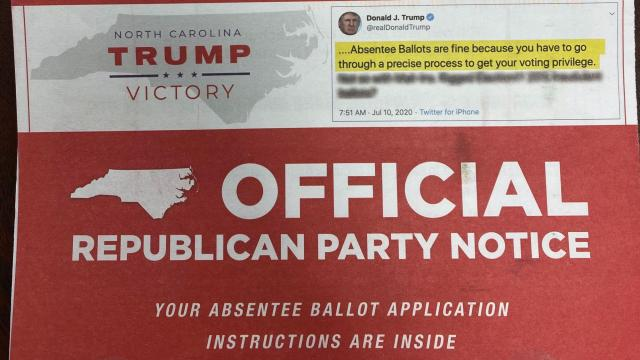 NC Republican Party absentee ballot mailer, July 2020. Image courtesy NC GOP.