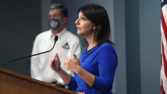 Dr. Mandy Cohen, secretary of the state Department of Health and Human Services, answers a question during a briefing at the Emergency Operations Center in Raleigh, N.C., on Aug. 5, 2020 (Photo courtesy N.C. Department of Public Safety).