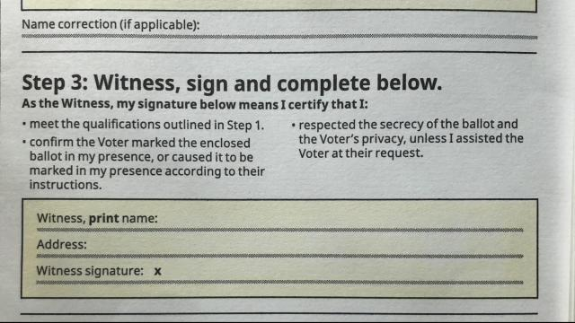 The witness section of a 2020 NC general election absentee ballot envelope.