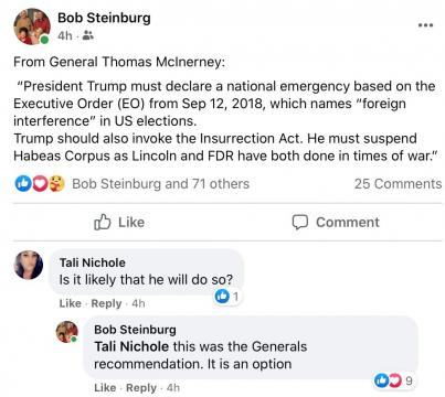 Facebook post from NC Sen. Bob Steinburg, December 15, 2020.