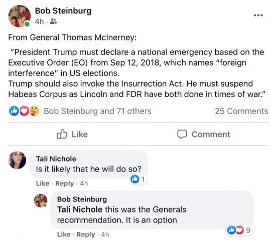 Facebook post from NC Sen. Bob Steinburg, December 15, 2020.