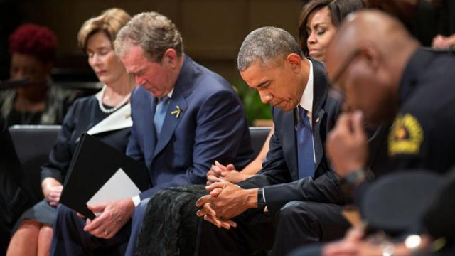 President Obama and former President Bush at the July 12, 2016 memorial service for slain Dallas police officers.