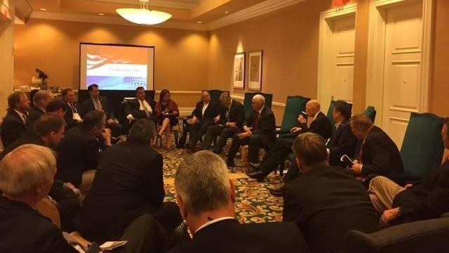 Gov. Pat McCrory attends a session of the 2016 Republican Governors Association meeting in Orlando, featuring Vice President-Elect Mike Pence.