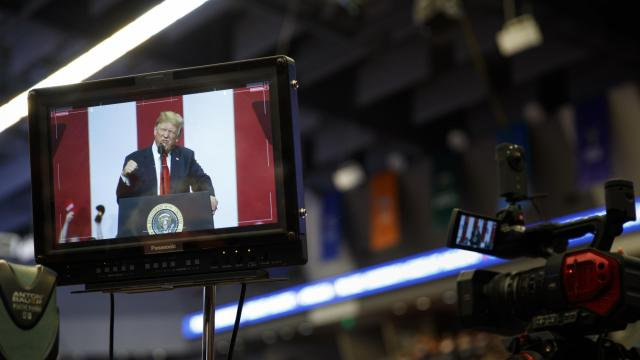 FILE -- Seen on a monitor, President Donald Trump speaks at a rally in Fargo, N.D., June 27, 2018. Trump figured out how to dominate Twitter, not with the cool-kid arch style of making fun of someone, but by being school-yard-bully mean, Maureen Down writes. (Tom Brenner/The New York Times)