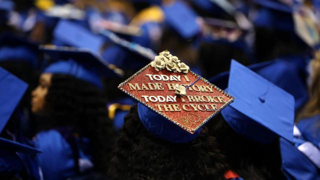 A commencement ceremony at Fayetteville State University in Fayetteville, N.C., May 11, 2019.  The list of colleges exceeding their expected six-year graduation rate is diverse in almost every way; at Fayetteville State, students are no longer allowed to be classified as undeclared. (Travis Dove/The New York Times)