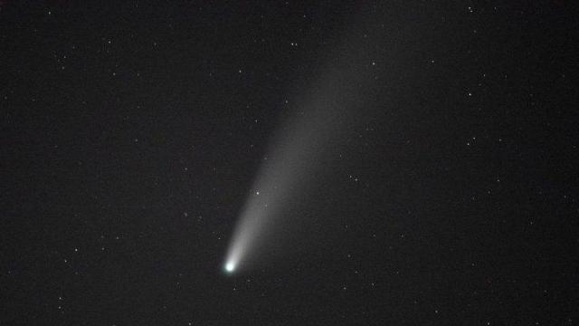 Comet NEOWISE is seen from Grandfather Mountain in Linville, N.C., Saturday, July 18, 2020. The newly discovered comet is visible in the Northern Hempisphere but after it's gone the comet will not reappear for 6800 years. (AP Photo/Gerry Broome)