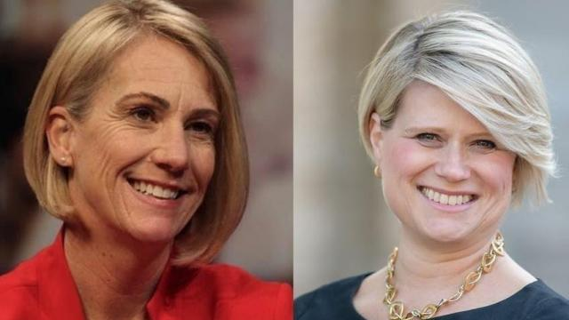 Jen Mangrum, Democrat (left); and Catherine Truitt, Republican, the 2020 candidates for N.C. Superintendent of Public Instruction. (Photo courtesy of The Daily Tar Heel)