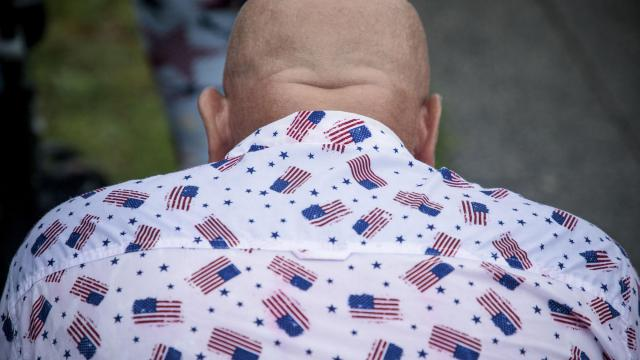 """A man in a patriotic shirt during the """"Salute to America"""" event on the Fourth of July on the National Mall in Washington, July 4, 2019. (Damon Winter/The New York Times)"""