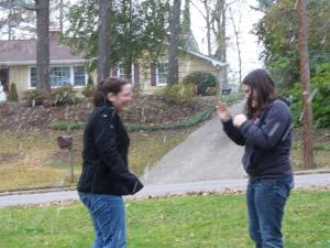 Denise and Kaitlin frolic in the flurries for the few minutes we had them here in Raleigh this afternoon.