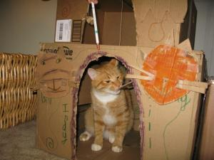 Indy at his playhouse kids built for him