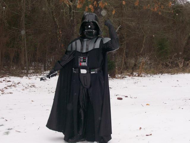 Darth Vader braves the icy weather