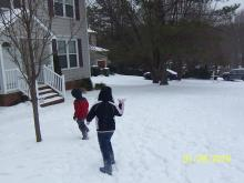 Sledding and snowball fights! Fun times!