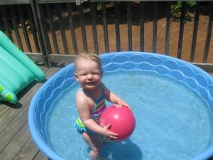 Mady loves the water on a hot summer day!!!