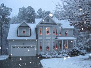 Snow in Youngsville that fell all day while we were decorating the house.