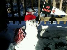 I built a snowman for my daughter who is with the NCSU band in Florida - ready for tonights game.