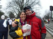An estimated 7,500 runners participated in the 2011 Krispy Kreme Challenge in Raleigh on Saturday, Feb. 5. Racers in the Challenge have one hour to run two miles from the North Carolina State University Bell Tower to a Krispy Kreme store, eat a dozen donuts and return two miles to the finish line.