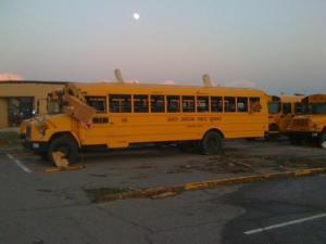 I'm a bud mechanic for Cumberland Co. Schools and was sent to Benjamin Martin School to check for damages.This bus has not one window left in it, the other 3 only have 2-3 left. Shcool have majot damage.