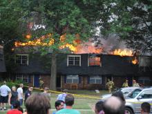 Crews were on the scene of a fire at Gorman Crossings, 3102 Avent Ferry Road in Raleigh, on July 19, 2011.