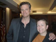 "Cricket Ellis poses with Colin Firth during filming for ""Main Street"" in Durham in 2009."