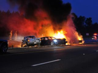 A fiery wreck on I-540 closed the two left lanes in both directions at Creedmoor Road around 6:30 a.m.