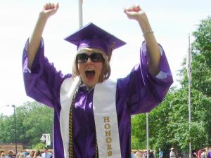 Chandler Wright of Garner celebrating her graduation from East Carolina University.