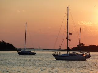 Sunset on Ocracroke Island. Sitting at the Jolly Roger's.