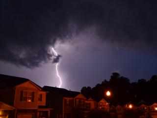 Pictures of two lightning strikes in West Raleigh from July 21, 2012 thunderstorm
