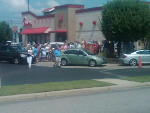 Tammy Thornton sent in this photo of crowds at Chick-fil-A in Fayetteville.