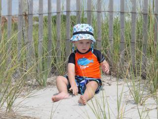 Our grandson, Mason, at Wrightsville Beach.  He loves the waves, water, and and sun!!