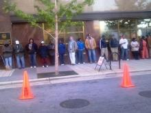 This is the line in Downtown Raleigh this morning @ 8:00 for early voting