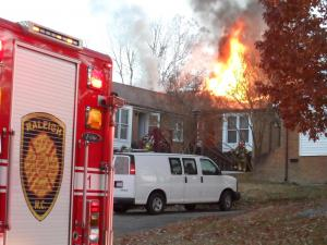 Crews battle an apartment fire in the 4600 block of Brockton Drive, Raleigh, on Nov. 26, 2012. (Photo courtesy of Michael Bullock)
