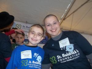 My son and I after we had our head shaved for this wonderful cause.