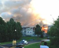 About 70 firefighters battled an apartment fire Saturday evening in Raleigh, according to authorities.