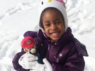 Elissa and Mario enjoying the snow here in Roanoke Rapids