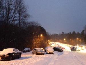 Glenwood Ave between Creedmoor Rd and W Milbrook Rd around 6 pm today.  Cars unable to make it up the hill.
