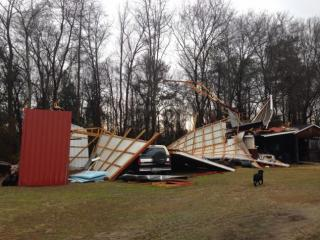 A viewer sent in this image of a storm-damaged barn structure in Roseboro.