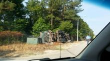 IMAGES: Truck crashes, knocks out power briefly