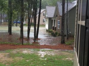 Our poor neighbors' house is surrounded by water