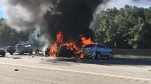 IMAGES: Photos: Car fire closes lanes on I-40 in Durham