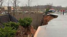 IMAGES: Rain to blame for retaining wall collapse at Holly Springs Target