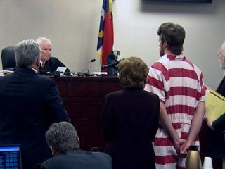 Jason Williford appears with his attorneys before District Judge James Fullwood on April 19, 2010, to face first-degree murder and first-degree forcible rape charges in connection with the March 9, 2010, death of North Carolina state school board member Kathy Taft. Fullwood tells Williford the maximum sentence he could face, if convicted, is life in prison without the possibility of parole or the death penalty.