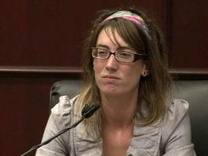 Jessica Foote testifies May 22, 2012, in the first-degree murder trial of her husband, Jason Williford, who is accused of raping and beating state school board member Kathy Taft.