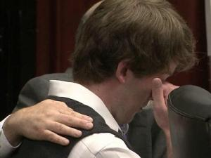 Jason Williford wipes tears from his eyes during closing arguments in the sentencing phase of his first-degree murder trial on June 6, 2012.