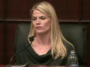 Genevieve Cargol testifies June 16, 2011, in the first-degree murder trial of Jason Young. Cargol says she was engaged to Young in 1999 when he attacked her during an argument.