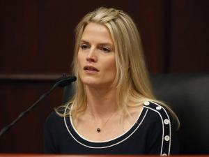 Genevieve Cargol recalls a physical struggle with her former fiancee Jason Young during 1999. She was testifying during his retrial on Feb. 15, 2012. (Photo by Shawn Rocco, The News & Observer, Pool)