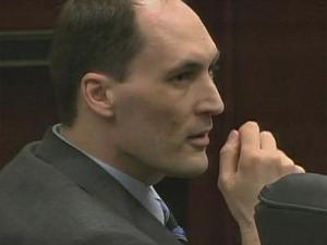 Brad Cooper sits in a Wake County courtroom on April 7, 2011, during his first-degree murder trial.