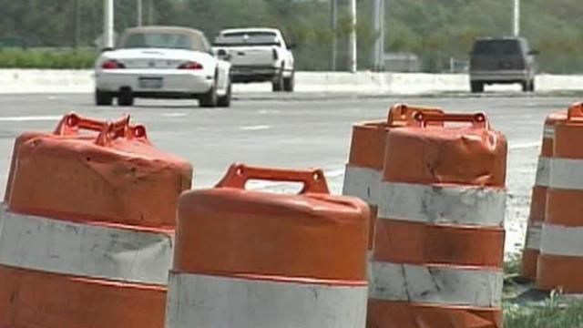 Orange barrels / highway construction generic