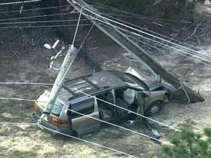 Traffic lights and about 2,800 Progress Energy customers lost power after the utility pole was hit.